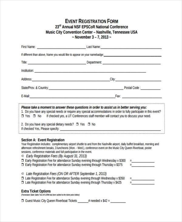 event registration form format