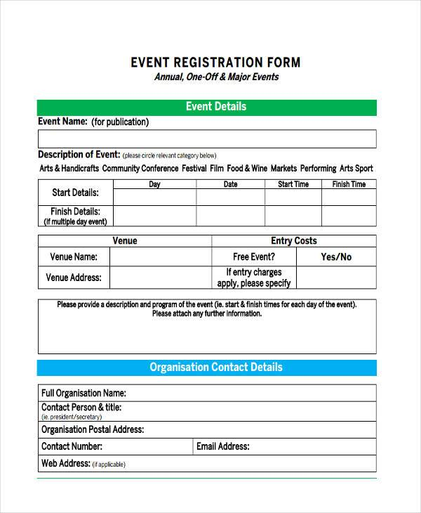 event registration sample form