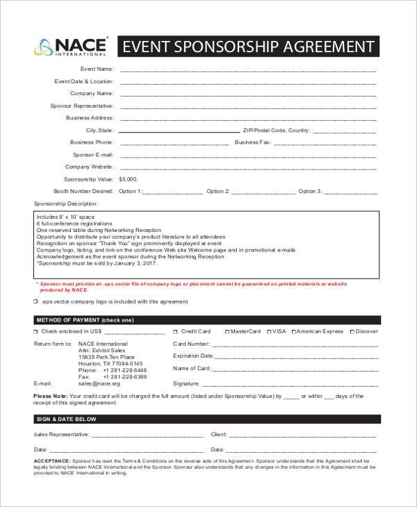 7 Sponsorship Agreement Form Samples Free Sample Example Format