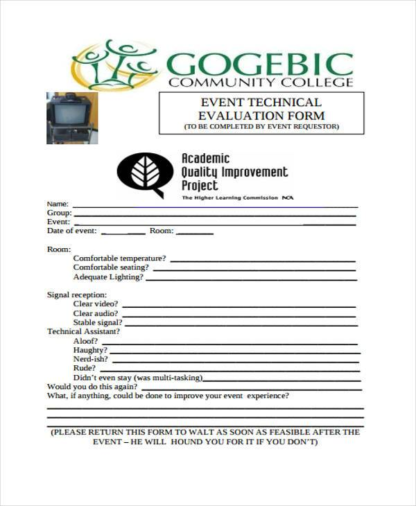 Technical Evaluation Form Samples  Free Sample Example Format