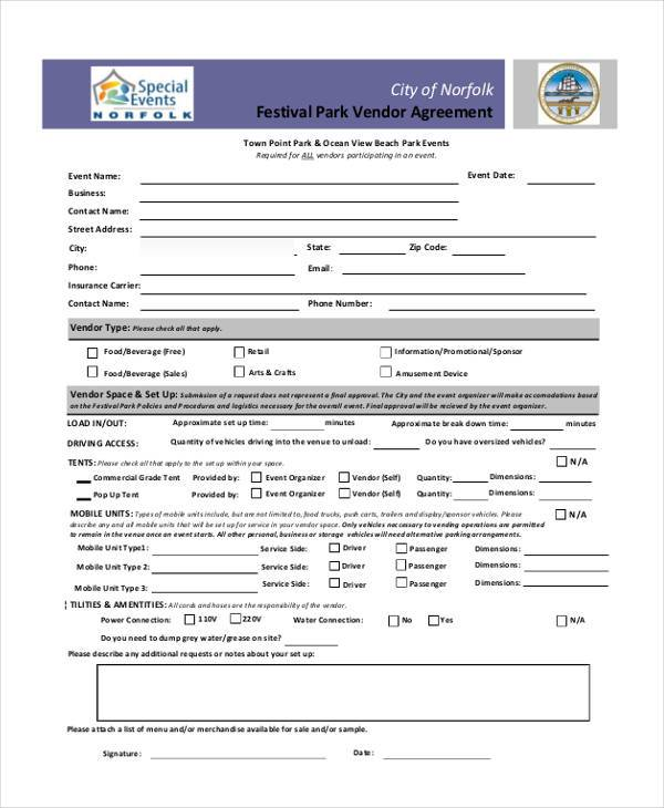 event vendor agreement form