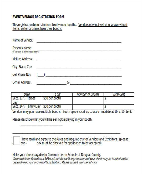 event vendor registration form1