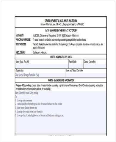 example army counseling form