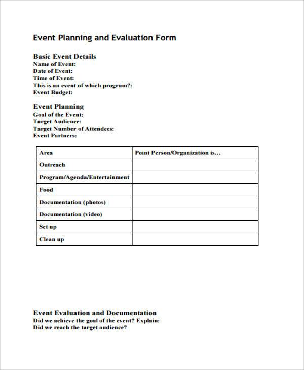 example event planner evaluation form