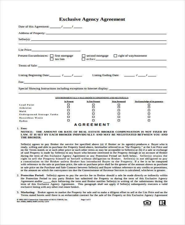 Agency Agreement Form Samples  Free Sample Example Format Download