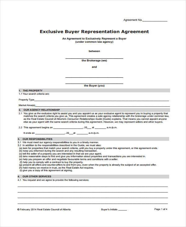 exclusive agency agreement sample form