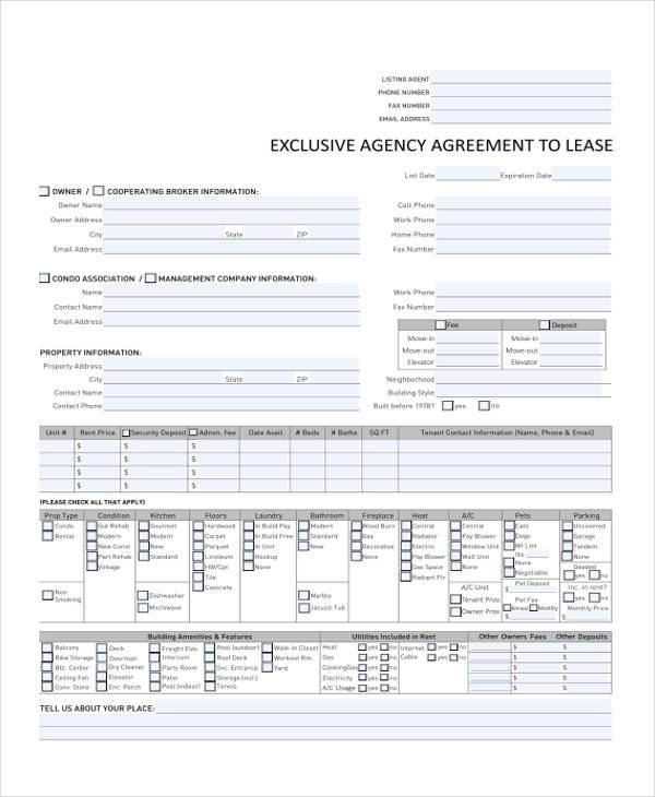 exclusive agency agreement to lease form