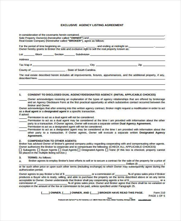 exclusive agency listing agreement form1