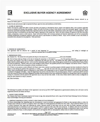 Sample exclusive agency agreement forms 8 free documents in word pdf exclusive buyer agency agreement form platinumwayz