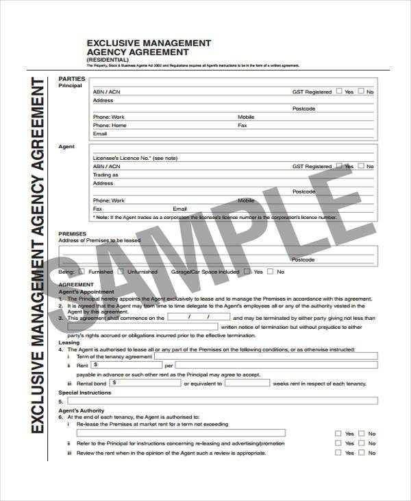 6 Exclusive Agency Agreement Form Samples Free Documents In Word Pdf