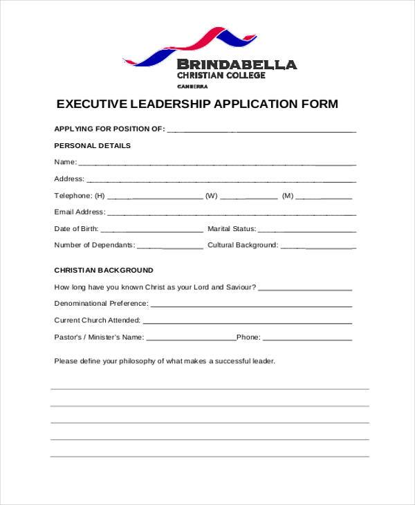 free 8  sample leadership application forms in pdf
