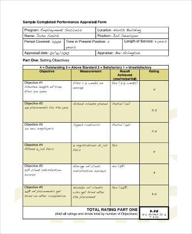 Sample Executive Performance Appraisal Form 8 Free