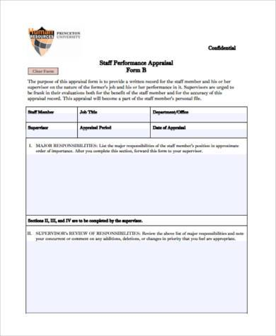 executive staff performance appraisal form