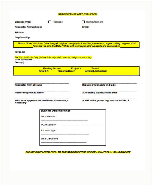 expense approval form in word format