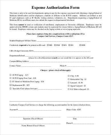 expense authorization form example