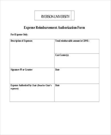 expense reimbursement authorization form