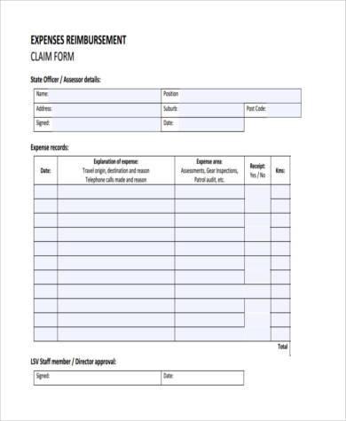 expense reimbursement claim form