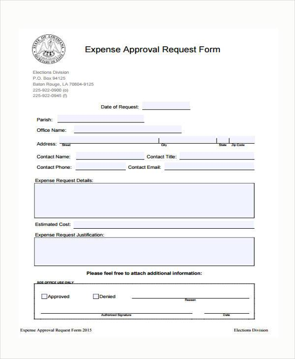Sample Expense Approval Forms 10 Free Documents In Word PDF