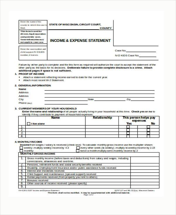 expense statement form in word format