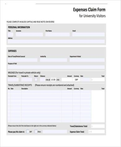 expense tax claim form