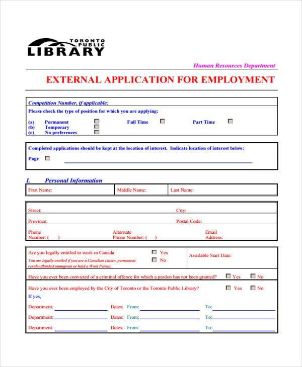 external application for employment form