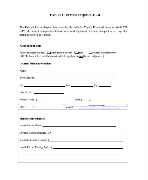 external review form in word