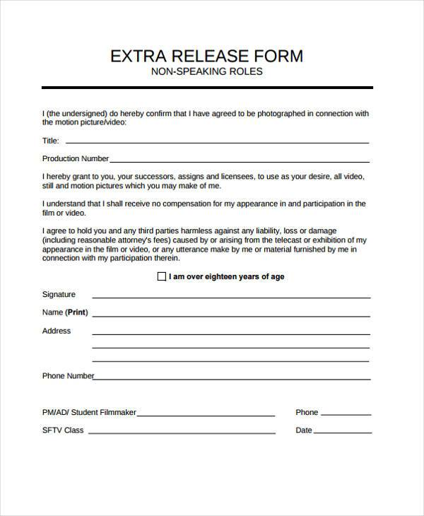 Film Release Form Samples  Free Sample Example Format Download