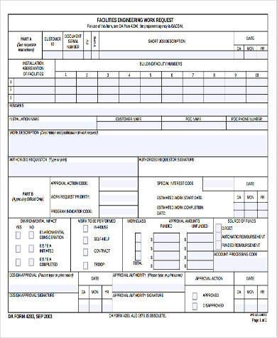 facilities engineering work request form