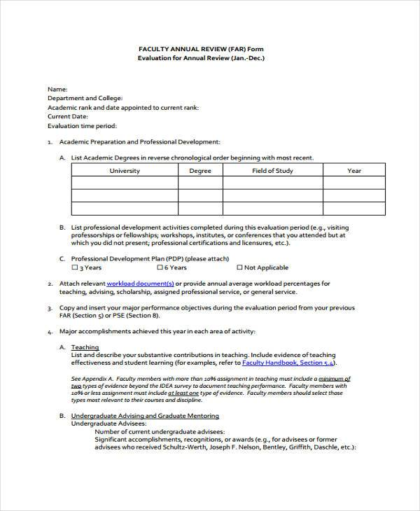 faculty annual review form