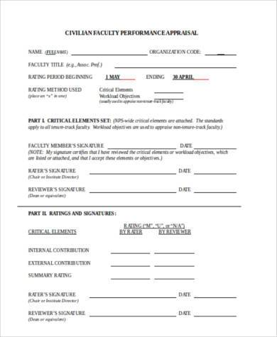 faculty appraisal form in word format1