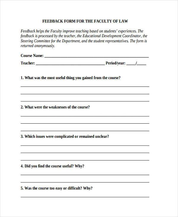 Sample Faculty Feedback Forms   Free Documents In Word Pdf