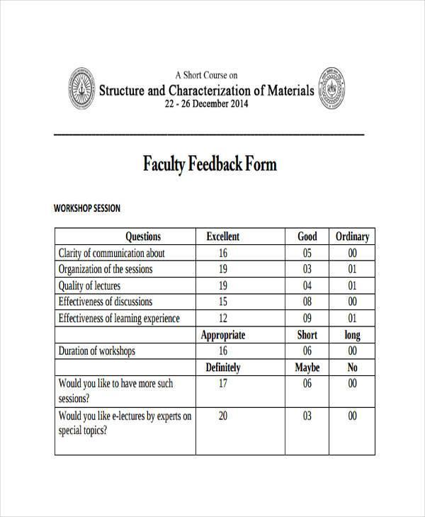 faculty feedback form pdf