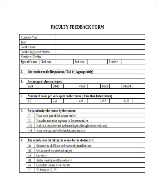 Sample Faculty Feedback Forms - 8+ Free Documents In Word, Pdf