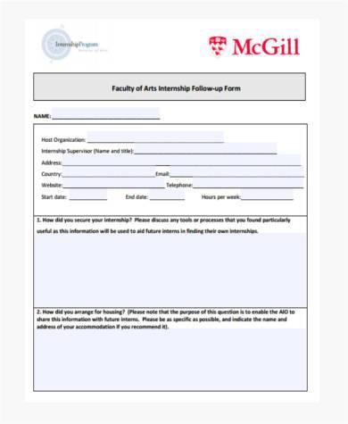 faculty internship report form