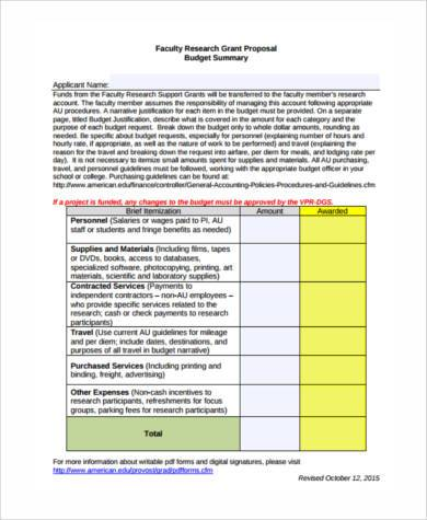 faculty research proposal budget form