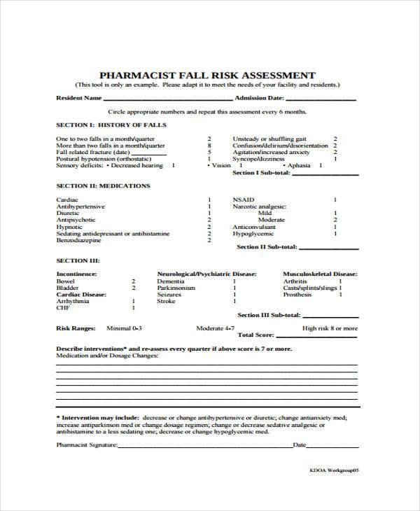 fall risk assessment form example