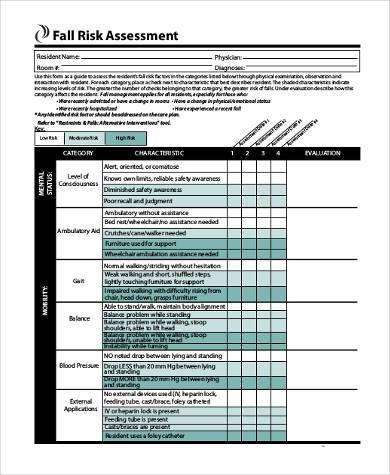 fall risk assessment form pdf