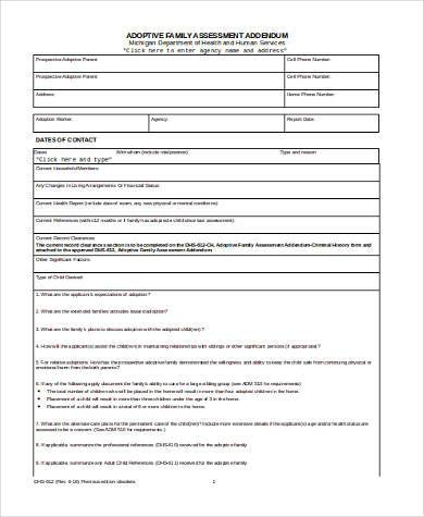family assessment form in word format