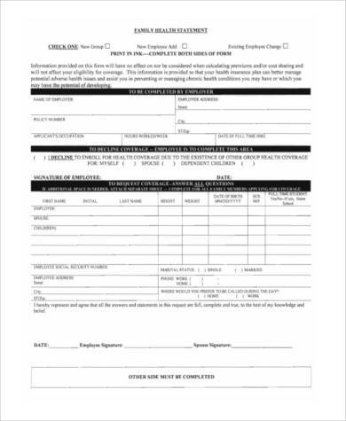 family health statement form
