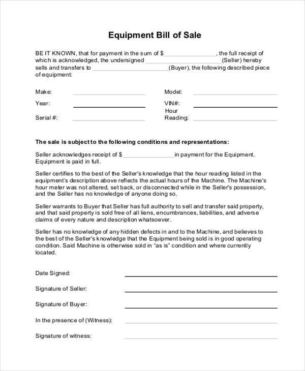 farm equipment bill of sale form