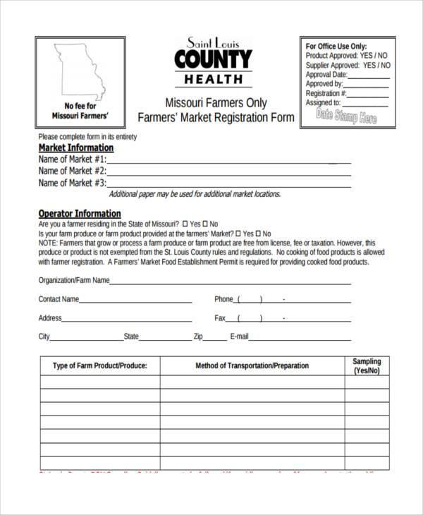 farmer market registration form