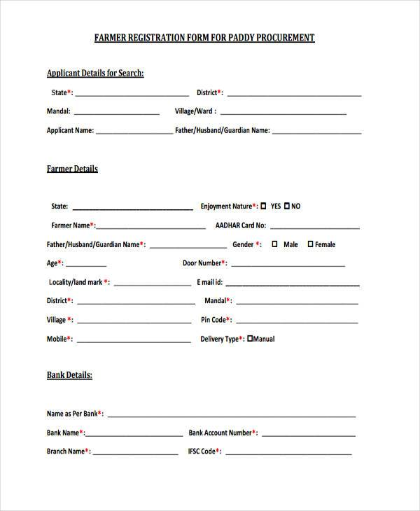 9+ Farmer Registration Form Samples - Free Sample, Example Format