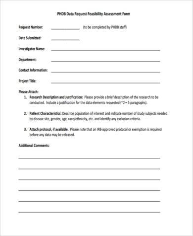 feasibility assessment request form