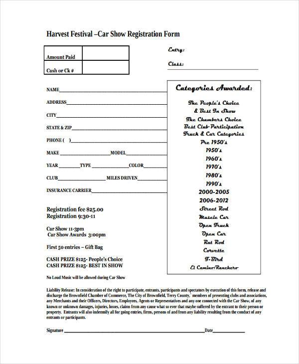 festival car show registration form