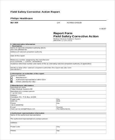 Sample Action Report Forms   Free Documents In Word Pdf