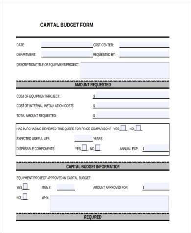 fillable capital budget form