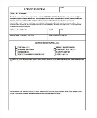 fillable counseling statement form