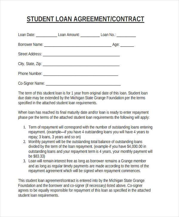 fillable student loan agreement form
