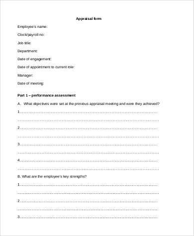 filled appraisal form example