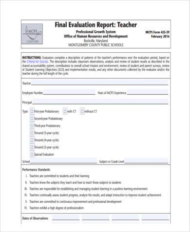 final evaluation report form